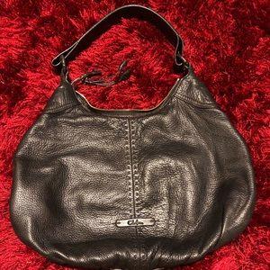 Cole Haan black leather handbag brown stitching